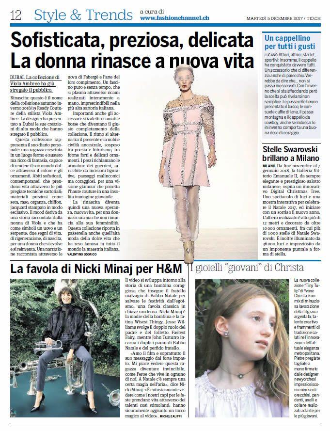 """fashionchannel.ch scrive su """"20 minuti"""" (5 dicembre)"""